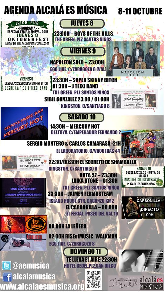 Agenda Musical 8-11 de octubre 2015