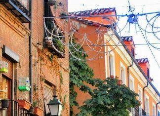 Balcones floridos y castaño de indias en la calle Mayor