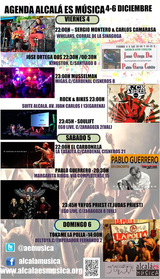 Agenda musical fin de semana del 4 al 6 de diciembre en Alcalá de Henares