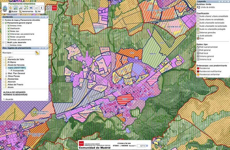 Mapa virtual del Planeamiento de Alcalá de Henares en el visor de la Comuniad de Madrid