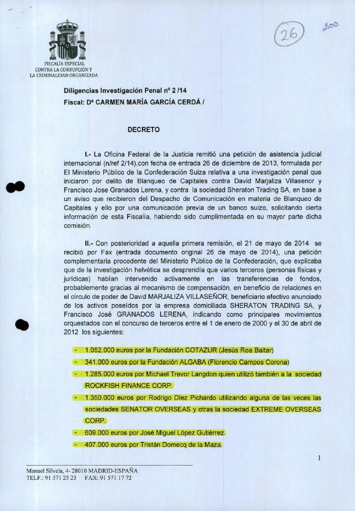 Escrito oficial de la Fiscalía Anticorrupción donde se cita al exalcalde Florencio Campos Corona, publicado en exclusiva por el periodista Daniel Montero en elespanol.com