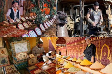 Mosaico de puestos de hierbas medicinales, forja, especias y caligrafía árabe. FB