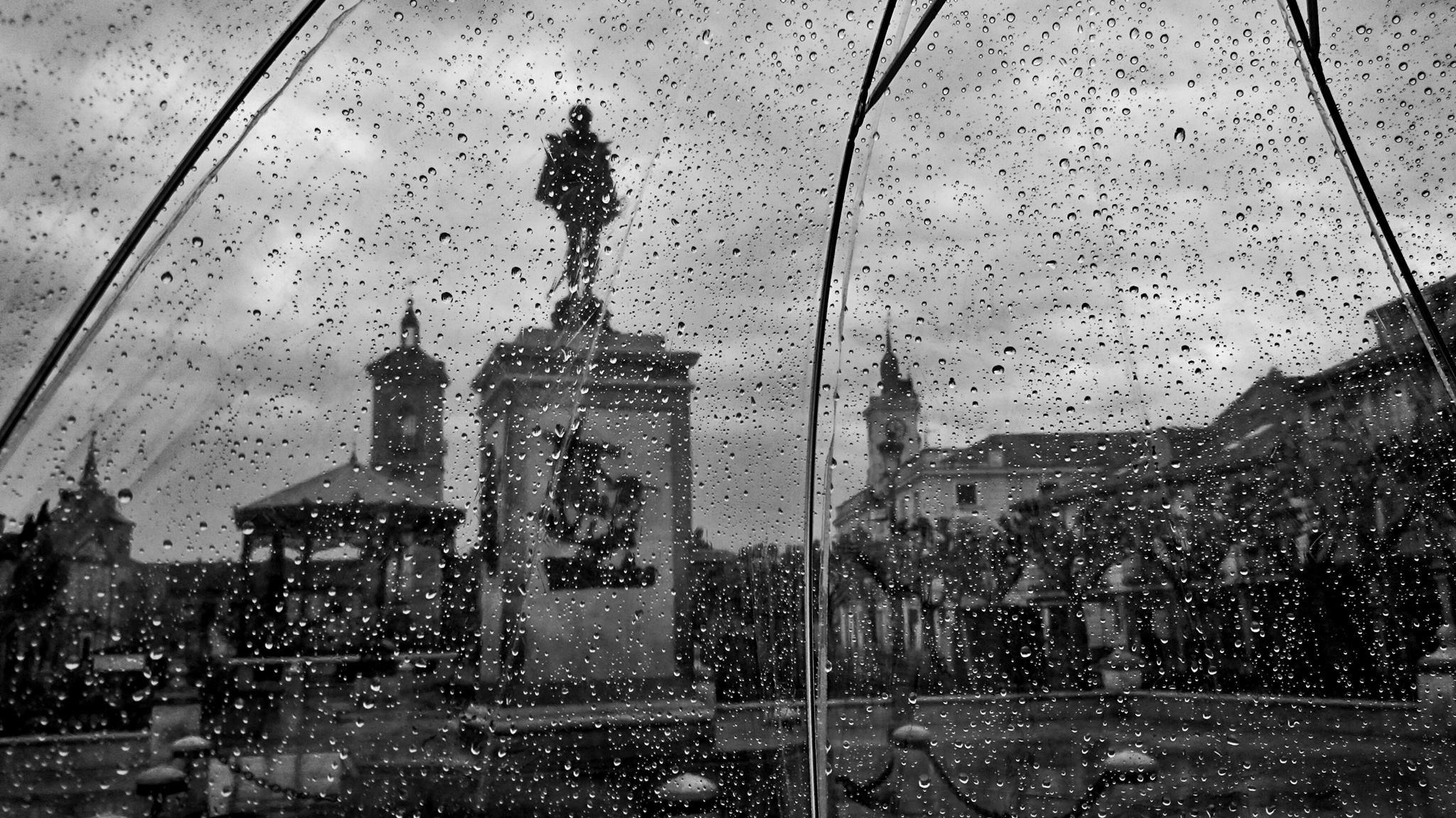 Lluvia por la Plaza de Cervantes