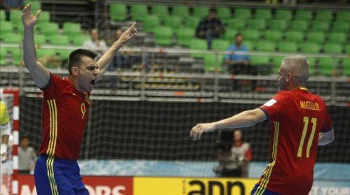 MED01 MEDELLIN COLOMBIA 21 09 2016 - Sergio Lozano i de Espana celebra una anotacion ante Kazajstan por los octavos de final de la Copa Mundial de Futsal de la FIFA Colombia 2016 en Medellin Colombia hoy miercoles 21 de septiembre de 2016 EFE LUIS EDUARDO NORIEGA